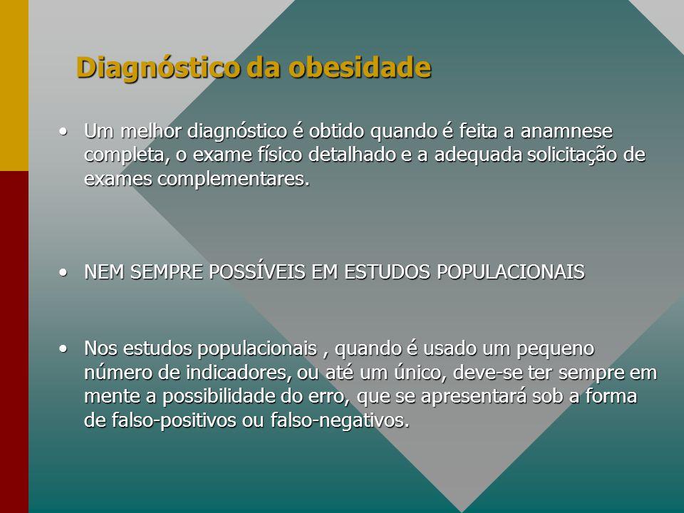 Diagnóstico da obesidade Um melhor diagnóstico é obtido quando é feita a anamnese completa, o exame físico detalhado e a adequada solicitação de exame