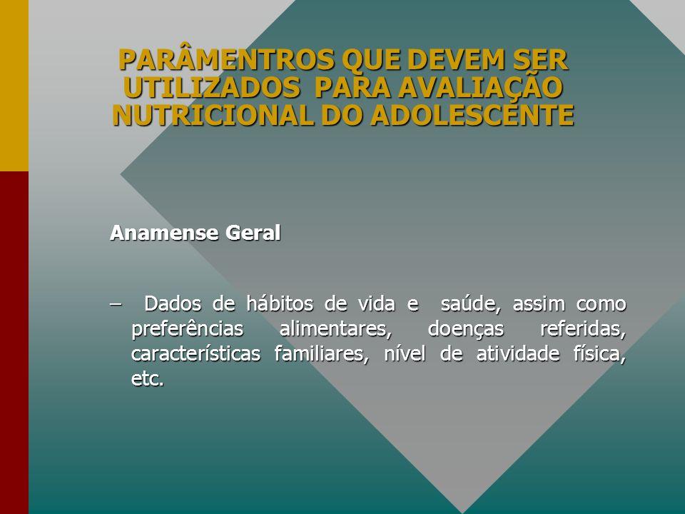 PARÂMENTROS QUE DEVEM SER UTILIZADOS PARA AVALIAÇÃO NUTRICIONAL DO ADOLESCENTE Anamense Geral –Dados de hábitos de vida e saúde, assim como preferênci
