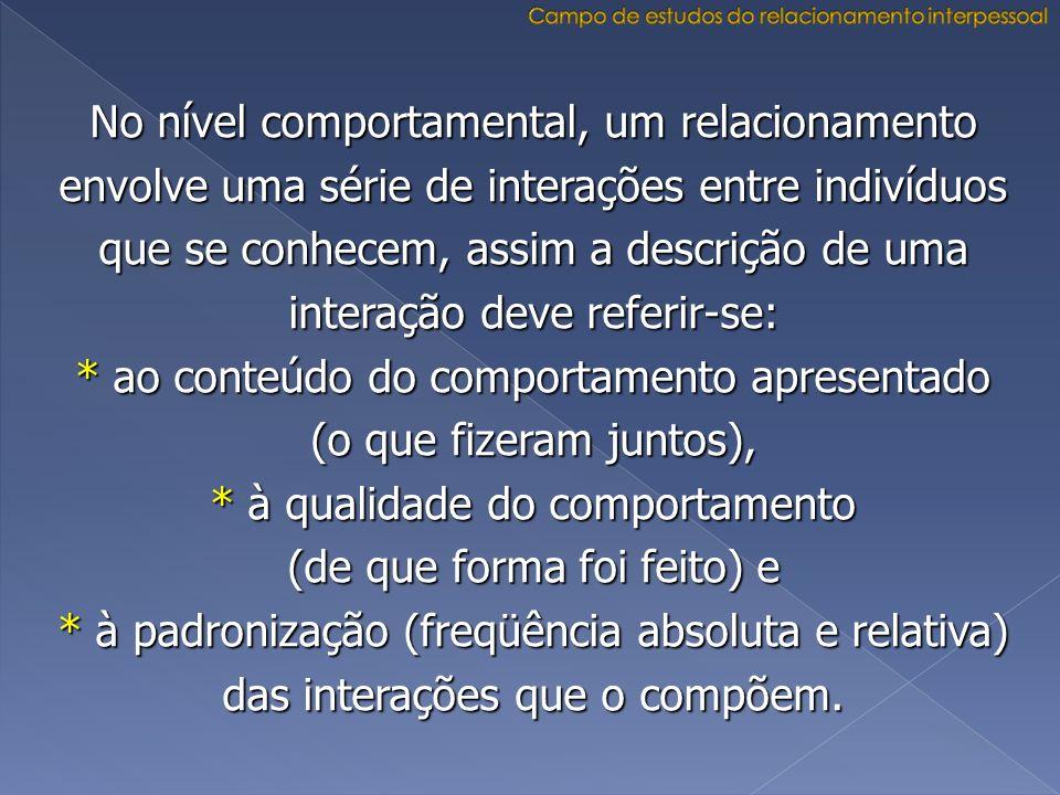 No nível comportamental, um relacionamento envolve uma série de interações entre indivíduos que se conhecem, assim a descrição de uma interação deve r
