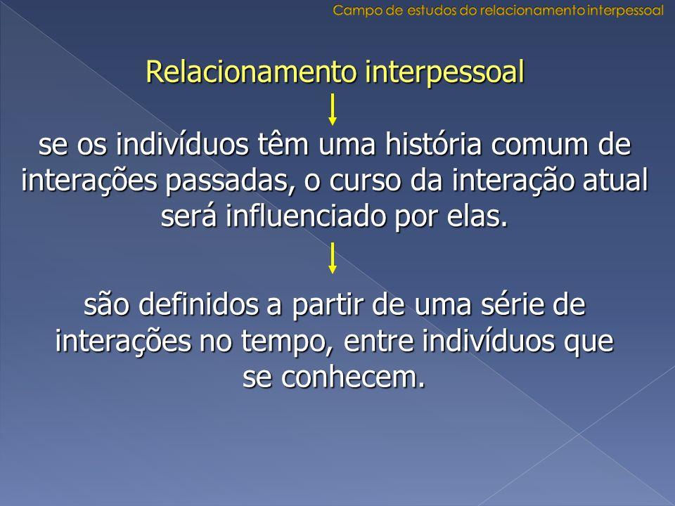Relacionamento interpessoal se os indivíduos têm uma história comum de interações passadas, o curso da interação atual será influenciado por elas. são