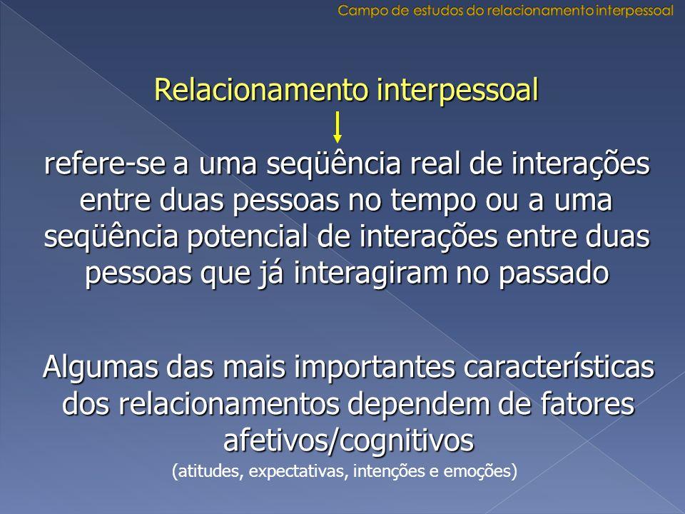 Relacionamento interpessoal refere-se a uma seqüência real de interações entre duas pessoas no tempo ou a uma seqüência potencial de interações entre
