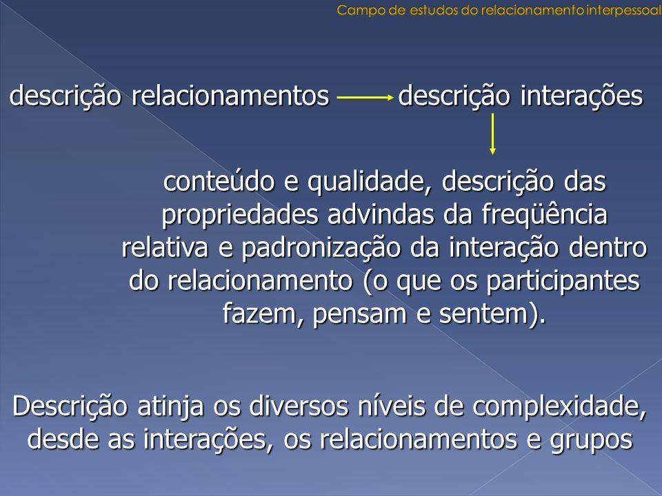 descrição relacionamentos descrição interações conteúdo e qualidade, descrição das propriedades advindas da freqüência relativa e padronização da inte