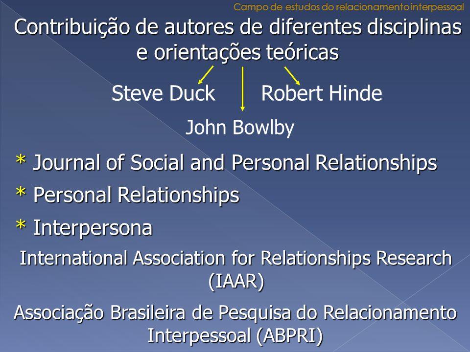 Contribuição de autores de diferentes disciplinas e orientações teóricas Steve Duck Robert Hinde * Journal of Social and Personal Relationships * Pers