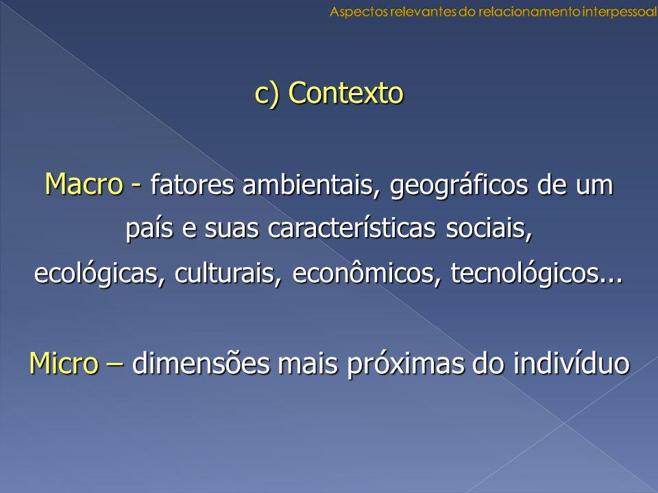 c) Contexto Macro - fatores ambientais, geográficos de um país e suas características sociais, ecológicas, culturais, econômicos, tecnológicos... Micr