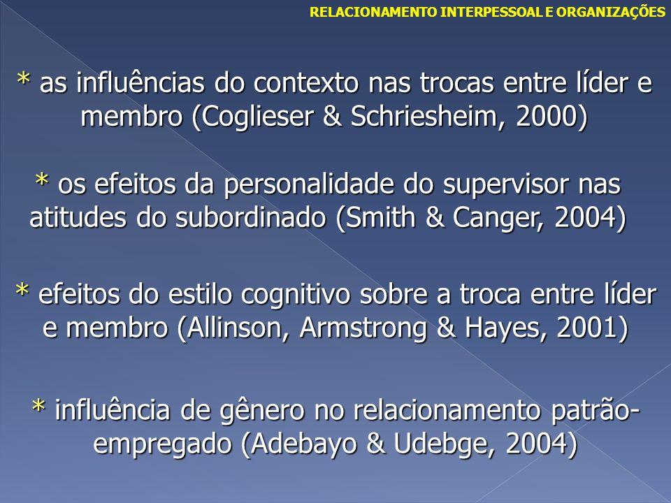 * as influências do contexto nas trocas entre líder e membro (Coglieser & Schriesheim, 2000) * os efeitos da personalidade do supervisor nas atitudes