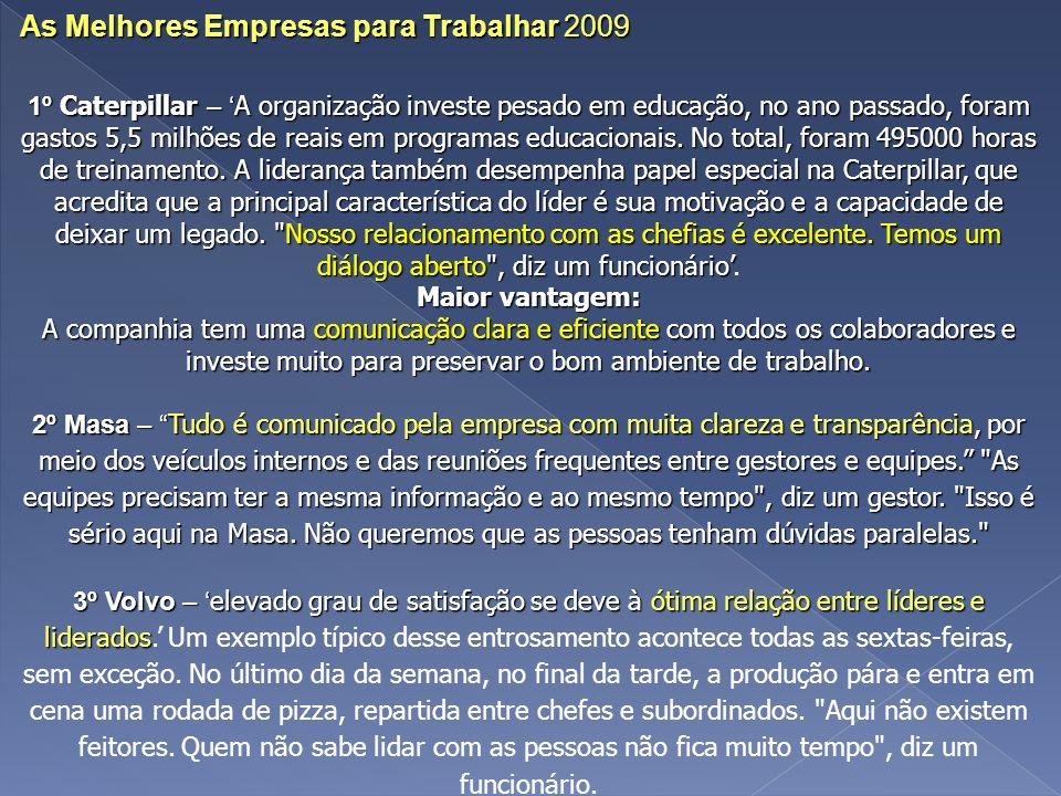 As Melhores Empresas para Trabalhar 2009 1º Caterpillar – A organização investe pesado em educação, no ano passado, foram gastos 5,5 milhões de reais