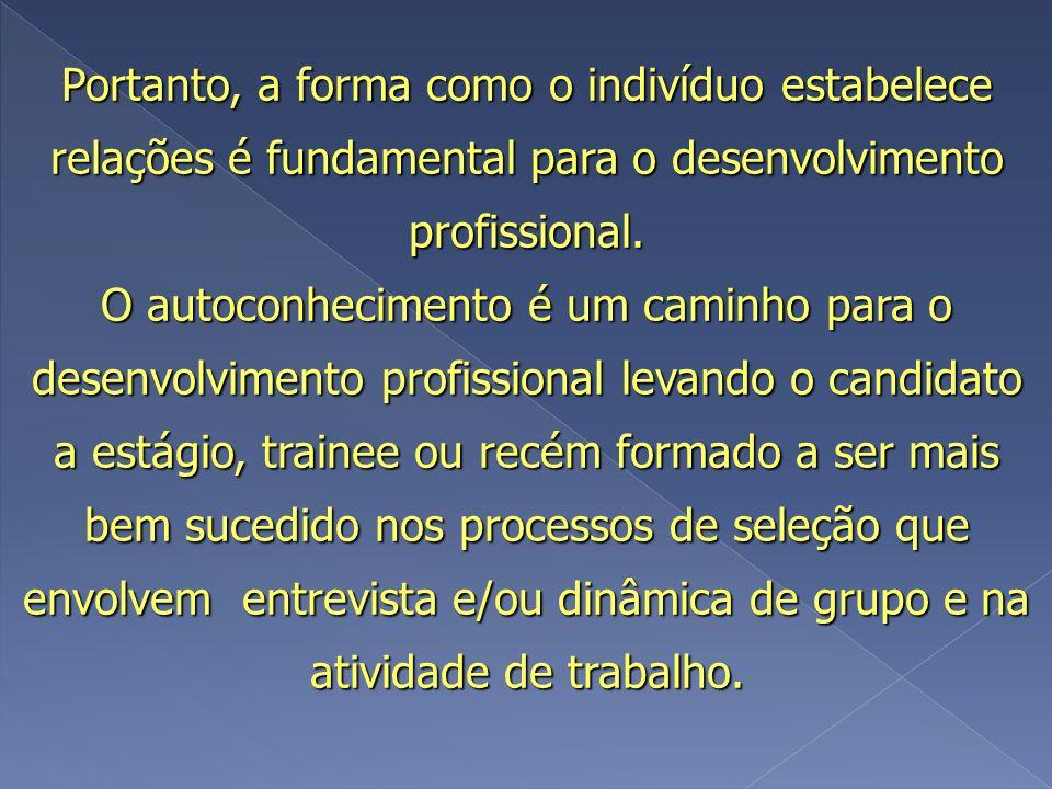 Portanto, a forma como o indivíduo estabelece relações é fundamental para o desenvolvimento profissional. O autoconhecimento é um caminho para o desen