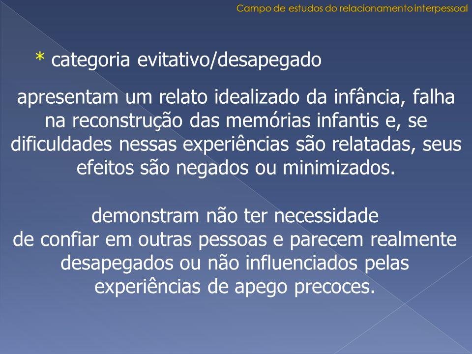 * categoria evitativo/desapegado apresentam um relato idealizado da infância, falha na reconstrução das memórias infantis e, se dificuldades nessas ex