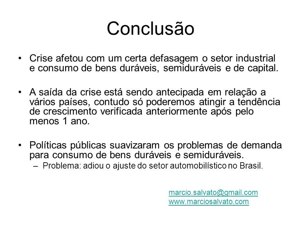 Conclusão Crise afetou com um certa defasagem o setor industrial e consumo de bens duráveis, semiduráveis e de capital.