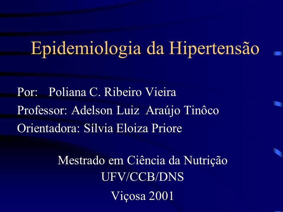Epidemiologia da Hipertensão Por: Poliana C. Ribeiro Vieira Professor: Adelson Luiz Araújo Tinôco Orientadora: Sílvia Eloiza Priore Mestrado em Ciênci