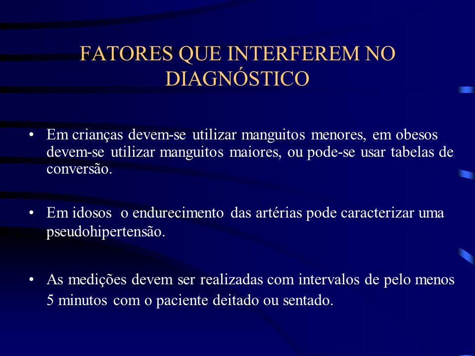 FATORES QUE INTERFEREM NO DIAGNÓSTICO Em crianças devem-se utilizar manguitos menores, em obesos devem-se utilizar manguitos maiores, ou pode-se usar