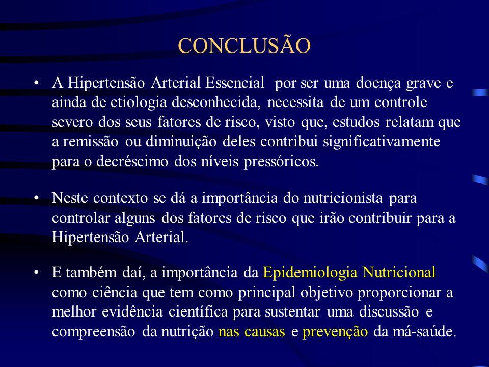 CONCLUSÃO A Hipertensão Arterial Essencial por ser uma doença grave e ainda de etiologia desconhecida, necessita de um controle severo dos seus fatore