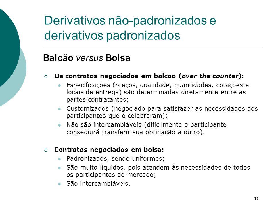 10 Derivativos não-padronizados e derivativos padronizados Os contratos negociados em balcão (over the counter): Especificações (preços, qualidade, qu