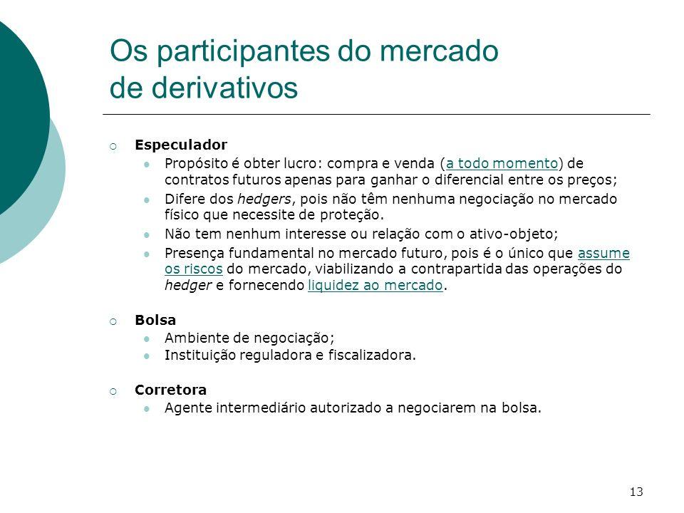 13 Os participantes do mercado de derivativos Especulador Propósito é obter lucro: compra e venda (a todo momento) de contratos futuros apenas para ga
