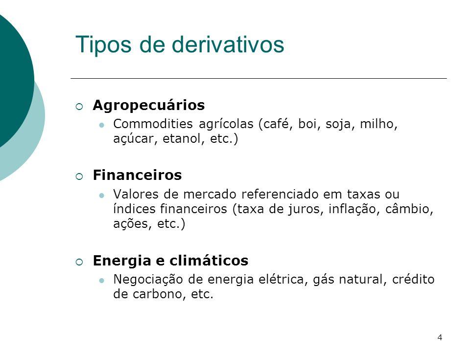 4 Tipos de derivativos Agropecuários Commodities agrícolas (café, boi, soja, milho, açúcar, etanol, etc.) Financeiros Valores de mercado referenciado