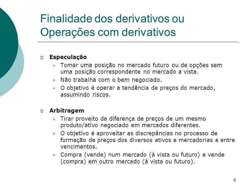 6 Finalidade dos derivativos ou Operações com derivativos Especulação Tomar uma posição no mercado futuro ou de opções sem uma posição correspondente