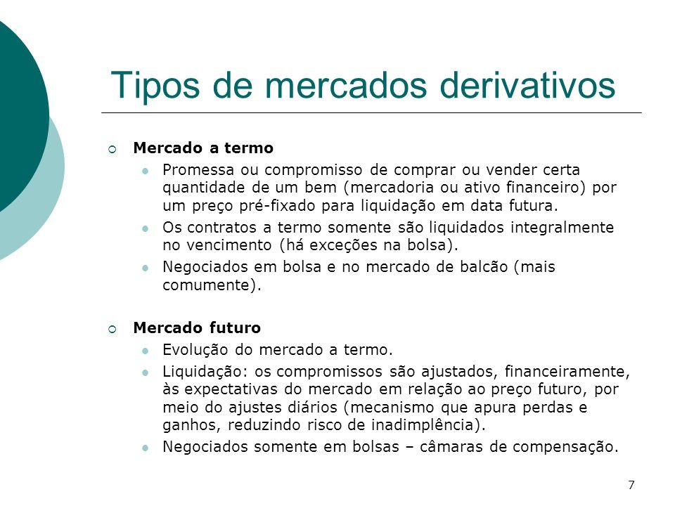 7 Tipos de mercados derivativos Mercado a termo Promessa ou compromisso de comprar ou vender certa quantidade de um bem (mercadoria ou ativo financeir