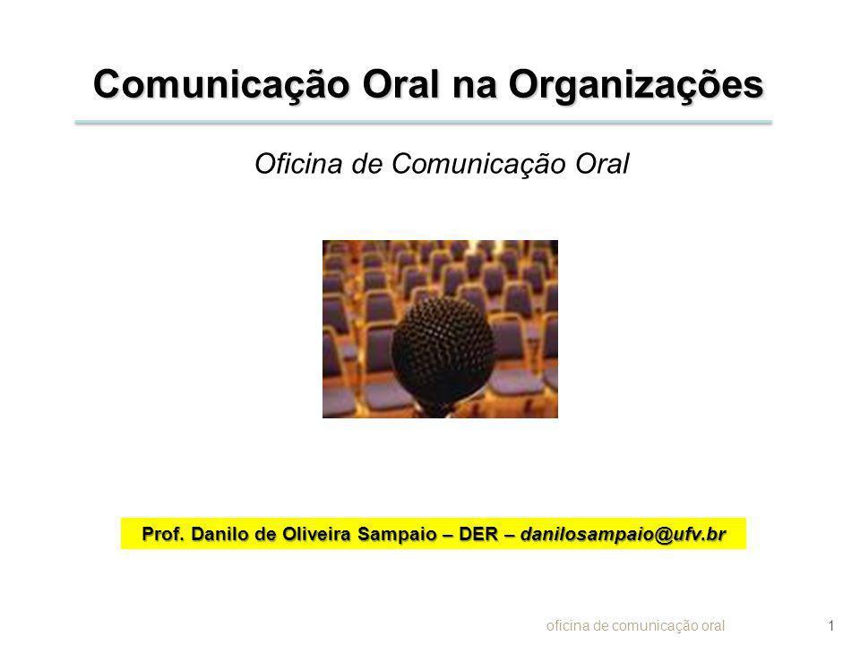 Comunicação Oral na Organizações Oficina de Comunicação Oral oficina de comunicação oral1 Prof. Danilo de Oliveira Sampaio – DER – danilosampaio@ufv.b