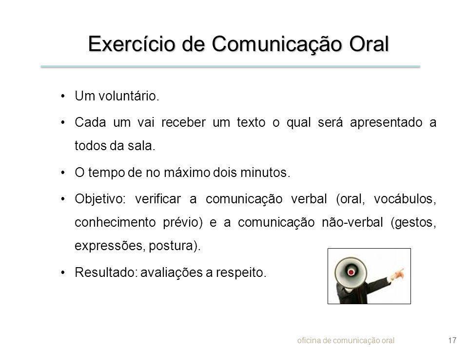 Exercício de Comunicação Oral Um voluntário. Cada um vai receber um texto o qual será apresentado a todos da sala. O tempo de no máximo dois minutos.