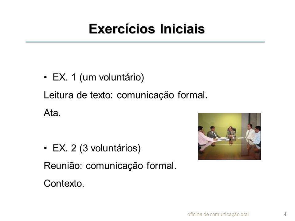 Exercícios Iniciais EX. 1 (um voluntário) Leitura de texto: comunicação formal. Ata. EX. 2 (3 voluntários) Reunião: comunicação formal. Contexto. ofic
