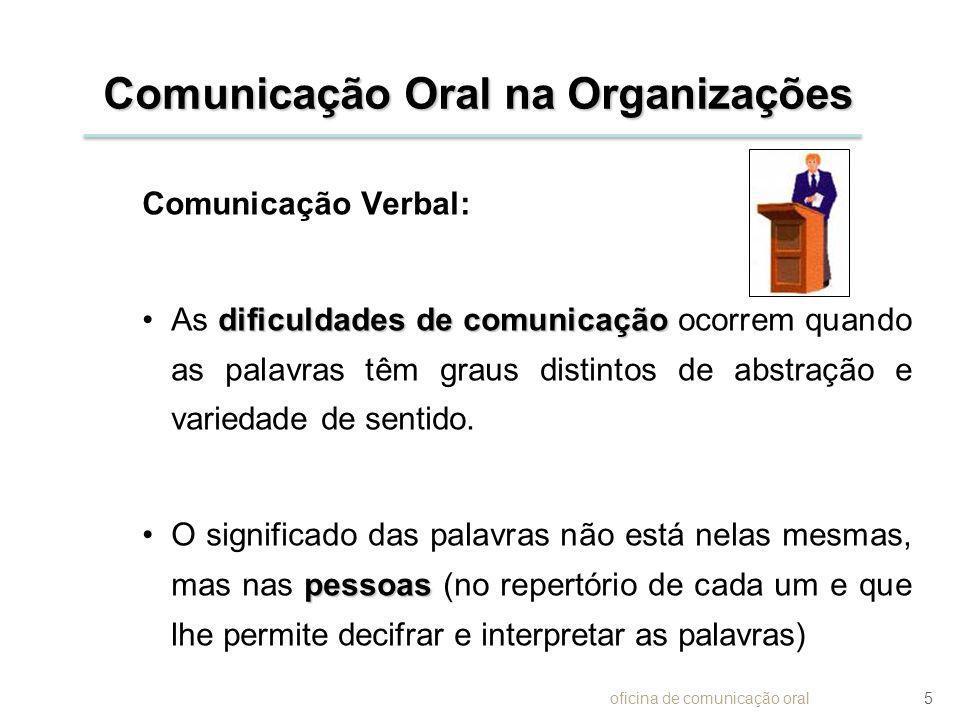 Comunicação Oral na Organizações Comunicação Verbal: dificuldades de comunicaçãoAs dificuldades de comunicação ocorrem quando as palavras têm graus di