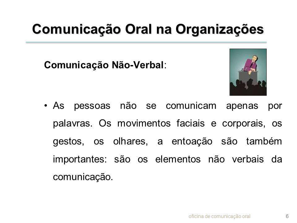 Comunicação Oral na Organizações Comunicação Não-Verbal: As pessoas não se comunicam apenas por palavras. Os movimentos faciais e corporais, os gestos