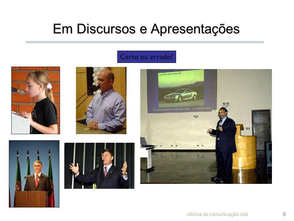 Em Discursos e Apresentações oficina de comunicação oral9 Certo ou errado?