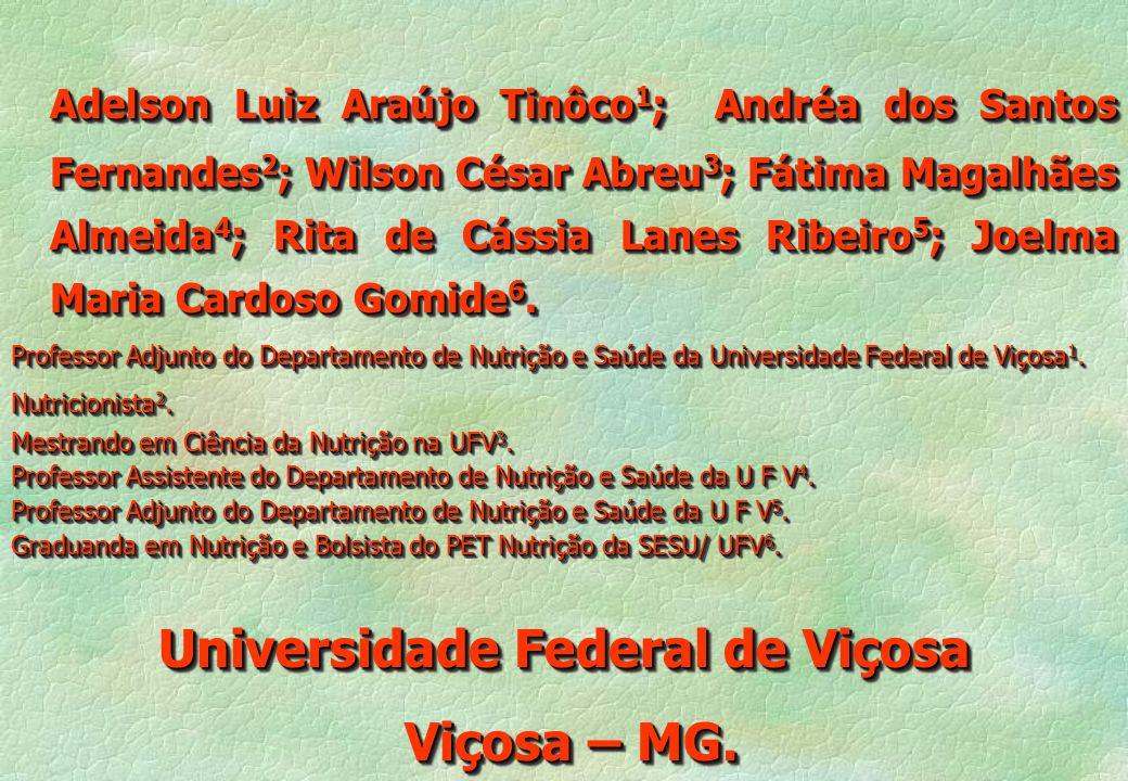 Adelson Luiz Araújo Tinôco 1 ; Andréa dos Santos Fernandes 2 ; Wilson César Abreu 3 ; Fátima Magalhães Almeida 4 ; Rita de Cássia Lanes Ribeiro 5 ; Jo