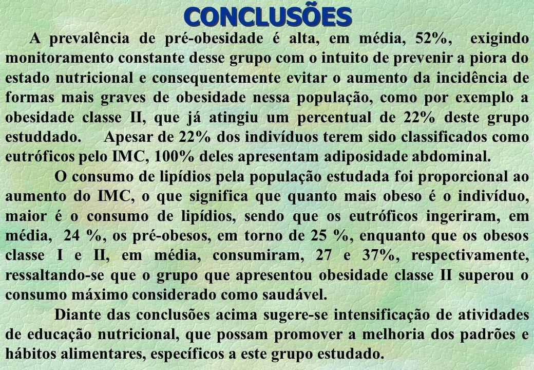 CONCLUSÕES A prevalência de pré-obesidade é alta, em média, 52%, exigindo monitoramento constante desse grupo com o intuito de prevenir a piora do est