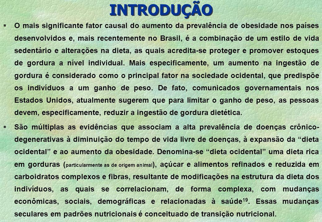INTRODUÇÃO § O mais significante fator causal do aumento da prevalência de obesidade nos países desenvolvidos e, mais recentemente no Brasil, é a comb