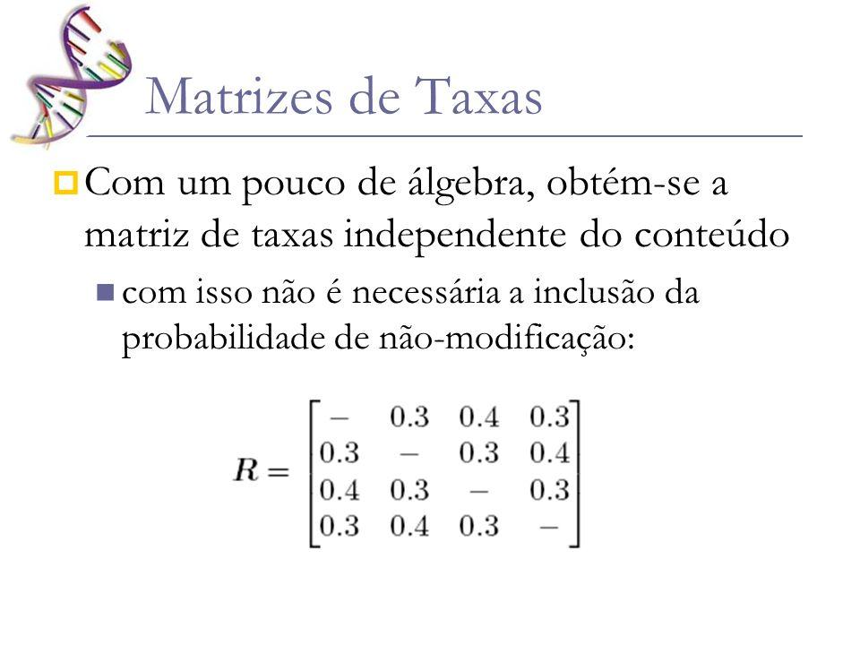 Matrizes de Taxas Com um pouco de álgebra, obtém-se a matriz de taxas independente do conteúdo com isso não é necessária a inclusão da probabilidade d