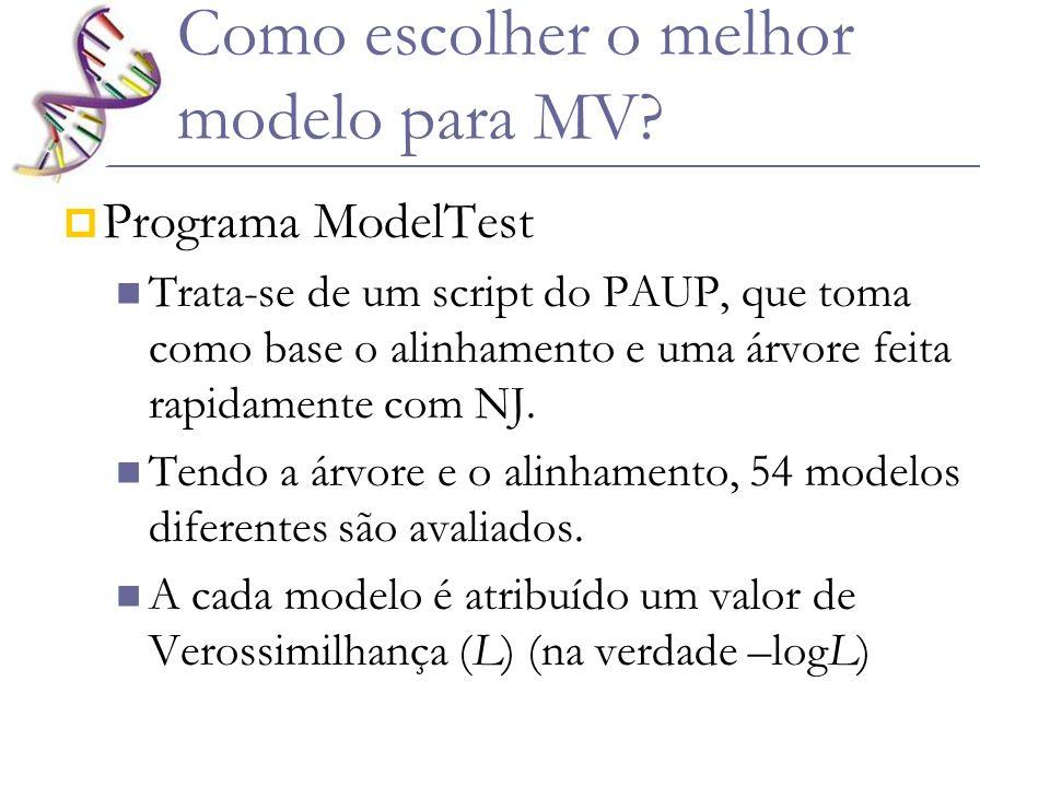 Como escolher o melhor modelo para MV? Programa ModelTest Trata-se de um script do PAUP, que toma como base o alinhamento e uma árvore feita rapidamen