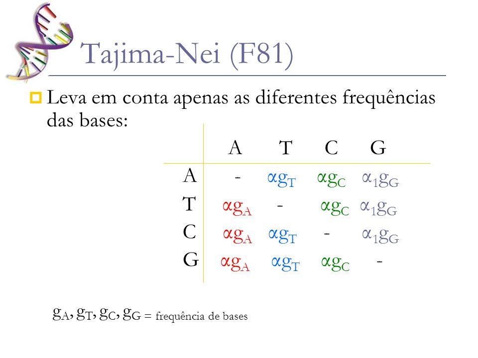 Tajima-Nei (F81) Leva em conta apenas as diferentes frequências das bases: A T C G A - αg T αg C α 1 g G T αg A - αg C α 1 g G C αg A αg T - α 1 g G G
