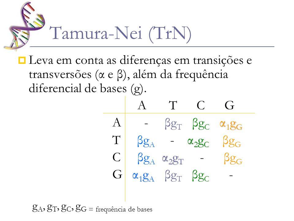 Tamura-Nei (TrN) Leva em conta as diferenças em transições e transversões (α e β), além da frequência diferencial de bases (g). A T C G α 1 g G A - βg