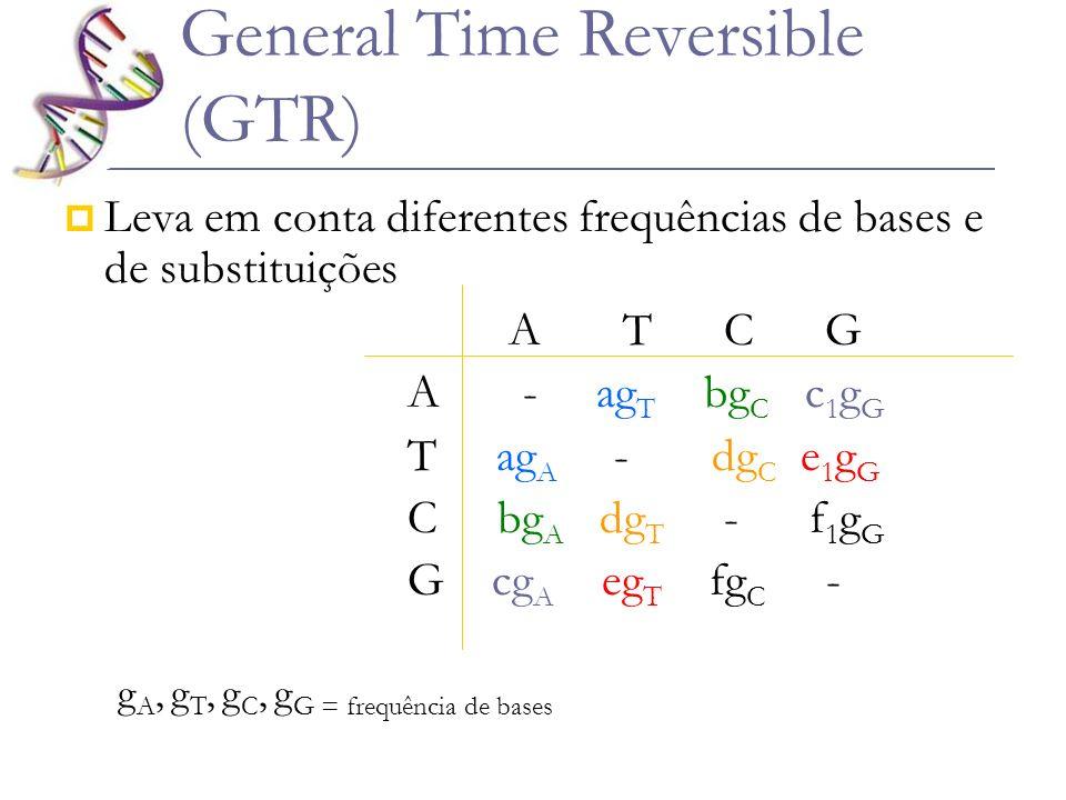 General Time Reversible (GTR) Leva em conta diferentes frequências de bases e de substituições A T C G A - ag T bg C c 1 g G T ag A - dg C e 1 g G C b