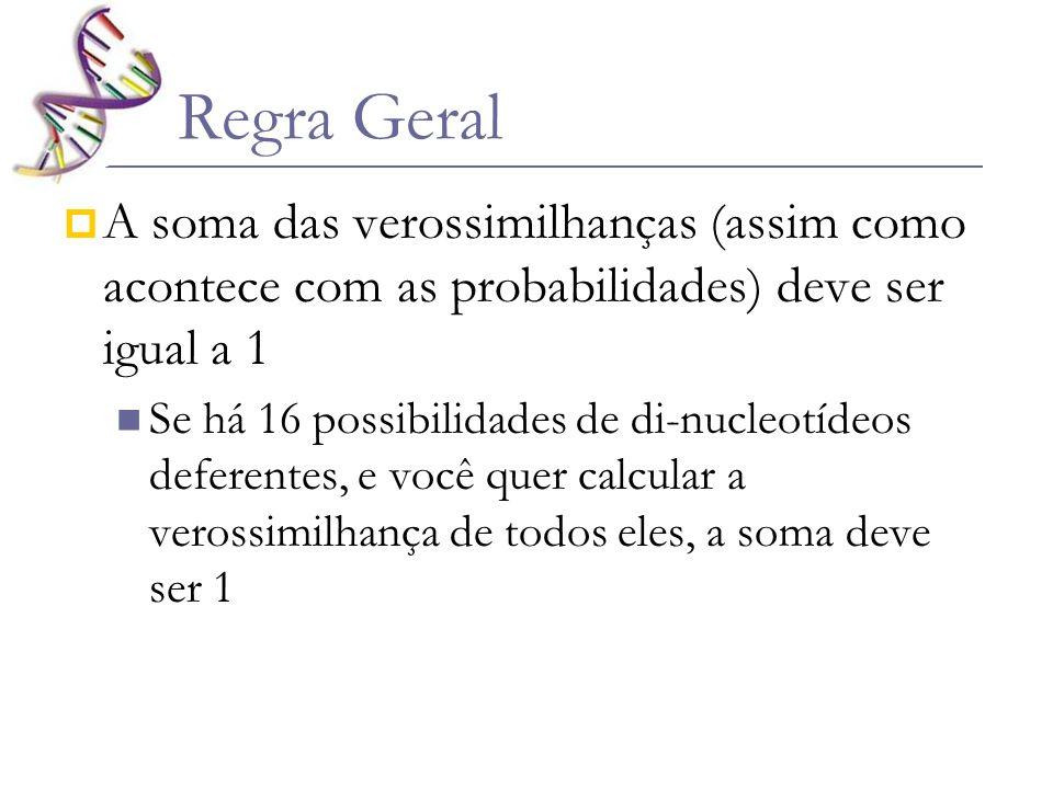 Regra Geral A soma das verossimilhanças (assim como acontece com as probabilidades) deve ser igual a 1 Se há 16 possibilidades de di-nucleotídeos defe