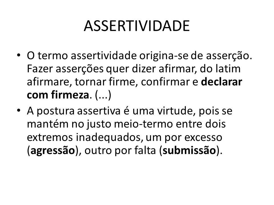 ASSERTIVIDADE O termo assertividade origina-se de asserção. Fazer asserções quer dizer afirmar, do latim afirmare, tornar firme, confirmar e declarar