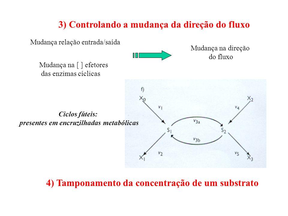 3) Controlando a mudança da direção do fluxo Mudança relação entrada/saída Mudança na [ ] efetores das enzimas cíclicas Mudança na direção do fluxo Ci