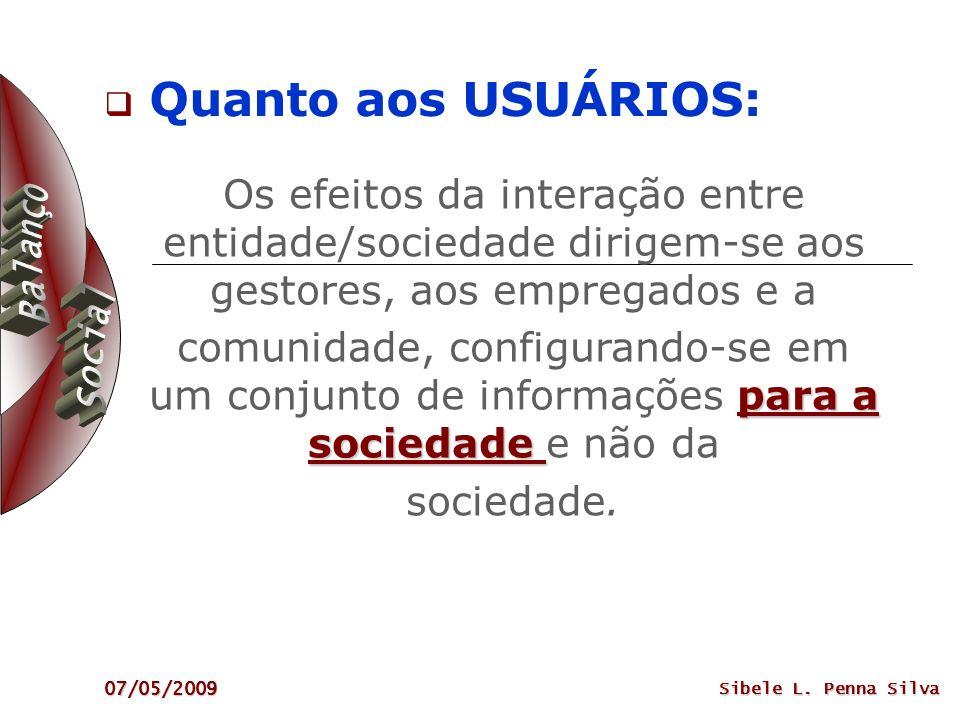 07/05/2009 Sibele L. Penna Silva Os efeitos da interação entre entidade/sociedade dirigem-se aos gestores, aos empregados e a para a sociedade comunid
