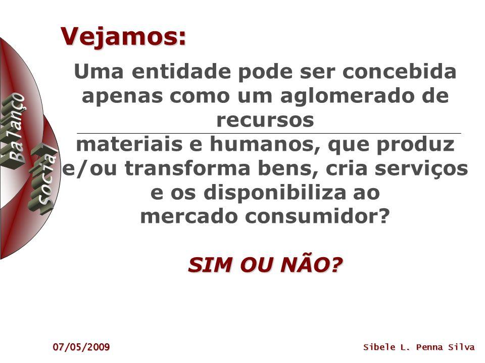 07/05/2009 Sibele L. Penna Silva Vejamos: SIM OU NÃO? Uma entidade pode ser concebida apenas como um aglomerado de recursos materiais e humanos, que p