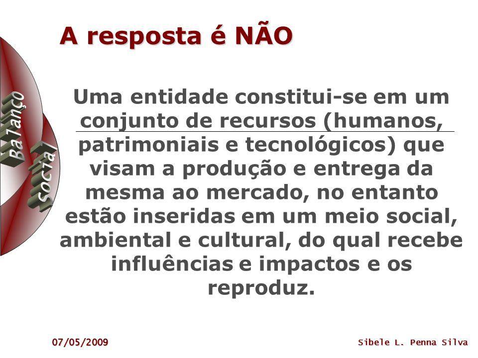 07/05/2009 Sibele L. Penna Silva A resposta é NÃO Uma entidade constitui-se em um conjunto de recursos (humanos, patrimoniais e tecnológicos) que visa