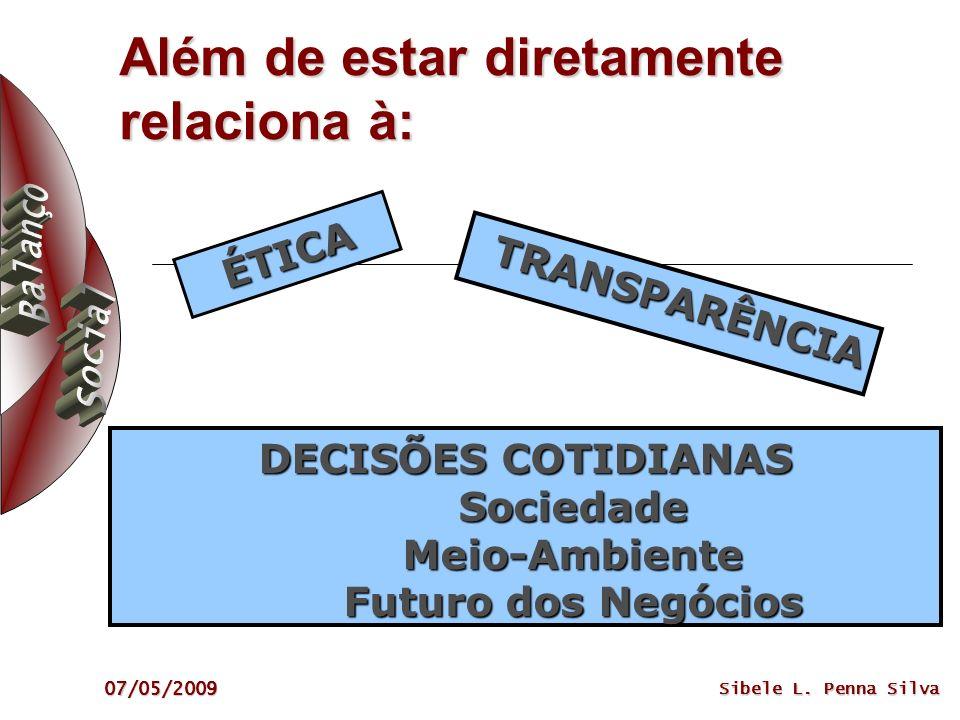 07/05/2009 Sibele L. Penna Silva Além de estar diretamente relaciona à: ÉTICA DECISÕES COTIDIANAS Sociedade Meio-Ambiente Futuro dos Negócios TRANSPAR