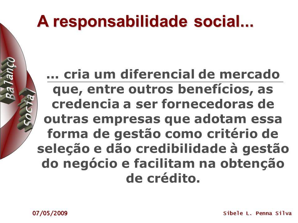 07/05/2009 Sibele L. Penna Silva A responsabilidade social...... cria um diferencial de mercado que, entre outros benefícios, as credencia a ser forne