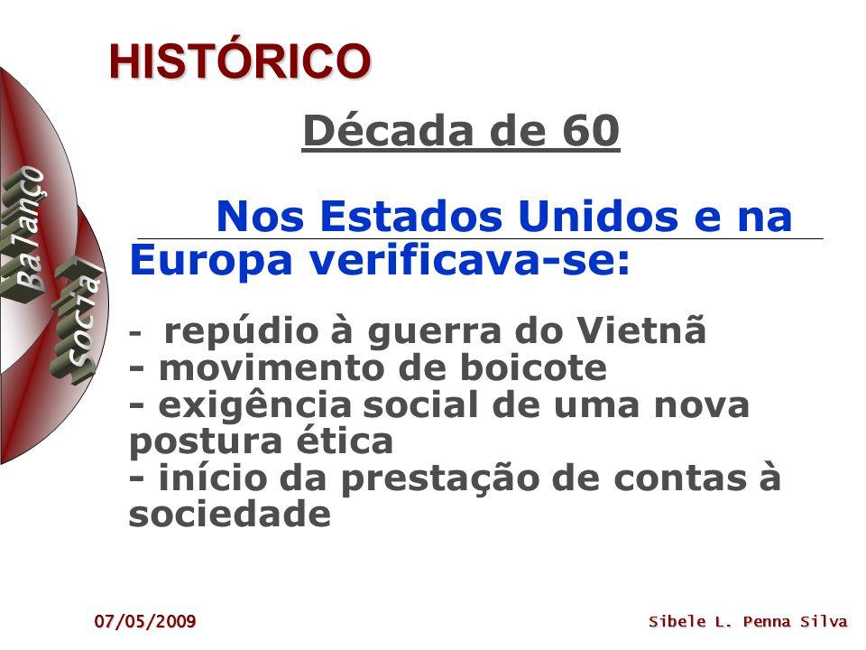 07/05/2009 Sibele L. Penna Silva HISTÓRICO Década de 60 Nos Estados Unidos e na Europa verificava-se: - repúdio à guerra do Vietnã - movimento de boic