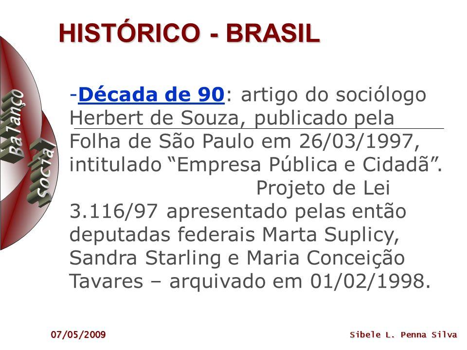 07/05/2009 Sibele L. Penna Silva HISTÓRICO - BRASIL -Década de 90: artigo do sociólogo Herbert de Souza, publicado pela Folha de São Paulo em 26/03/19