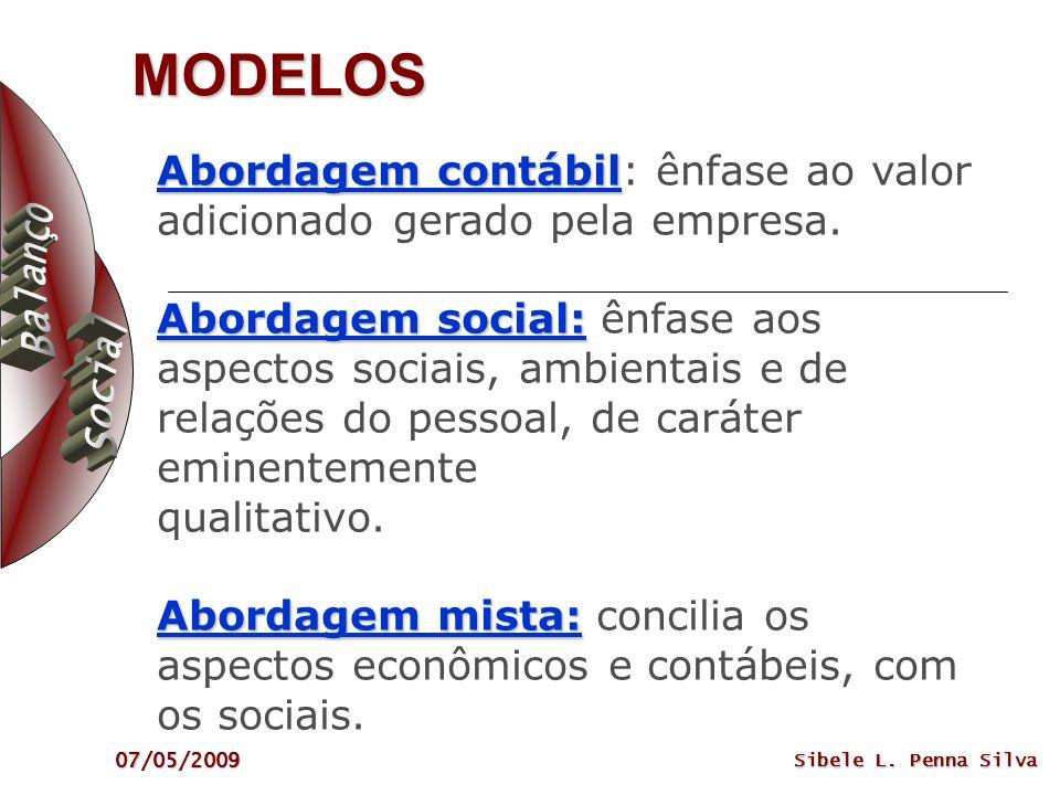 07/05/2009 Sibele L. Penna Silva MODELOS Abordagem contábil Abordagem social: Abordagem mista: Abordagem contábil: ênfase ao valor adicionado gerado p
