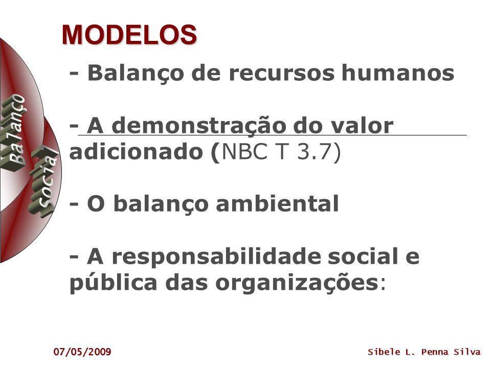 07/05/2009 Sibele L. Penna Silva MODELOS - Balanço de recursos humanos - A demonstração do valor adicionado (NBC T 3.7) - O balanço ambiental - A resp
