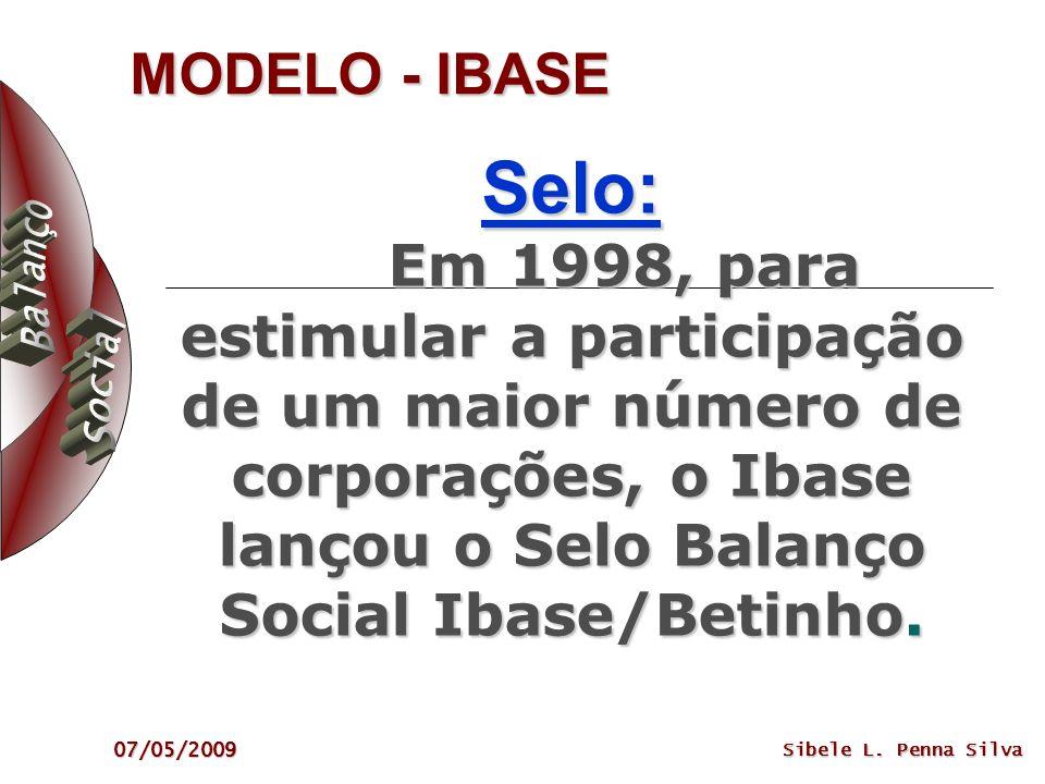 07/05/2009 Sibele L. Penna Silva MODELO - IBASE Selo: Em 1998, para estimular a participação de um maior número de corporações, o Ibase lançou o Selo