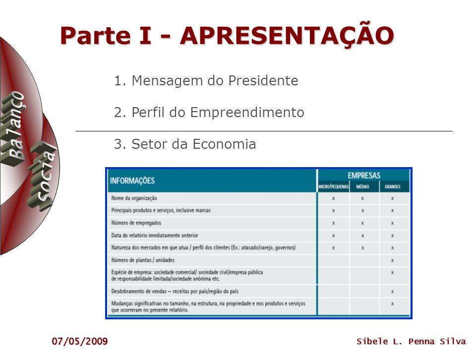 07/05/2009 Sibele L. Penna Silva Parte I - APRESENTAÇÃO 1. Mensagem do Presidente 2. Perfil do Empreendimento 3. Setor da Economia
