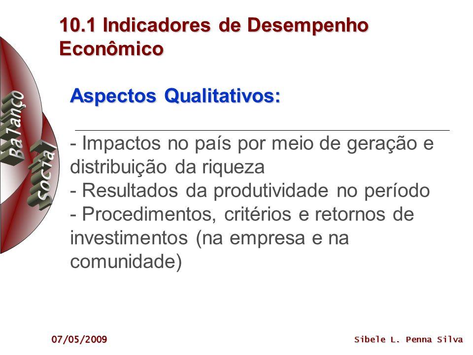 07/05/2009 Sibele L. Penna Silva 10.1 Indicadores de Desempenho Econômico Aspectos Qualitativos: Aspectos Qualitativos: - Impactos no país por meio de